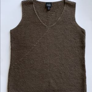 Eileen Fisher Brown Wool V Neck top size Petite M